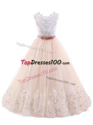 Pink Flower Girl Dresses Wedding Party with Lace Scoop Sleeveless Brush Train Zipper