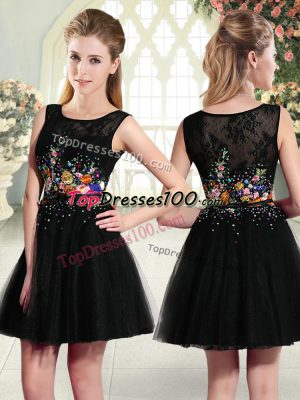 Black Sleeveless Mini Length Beading and Embroidery Side Zipper Prom Dress
