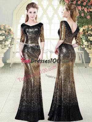 Belt Evening Dress Gold Zipper Half Sleeves Floor Length