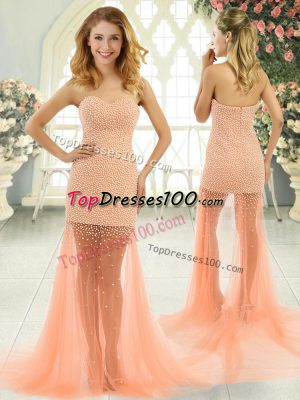 Delicate Orange and Peach Sleeveless Tulle Brush Train Zipper for Prom and Party