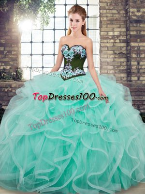 Attractive Embroidery and Ruffles Sweet 16 Dress Aqua Blue Lace Up Sleeveless Sweep Train