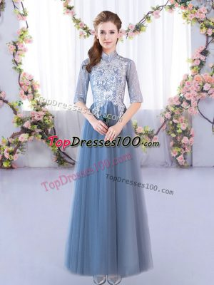 Blue Lace Up Wedding Guest Dresses Lace Half Sleeves Floor Length