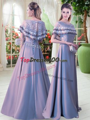 Grey Satin Lace Up Prom Gown Short Sleeves Floor Length Lace