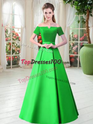 Short Sleeves Floor Length Belt Lace Up Prom Dress with Green