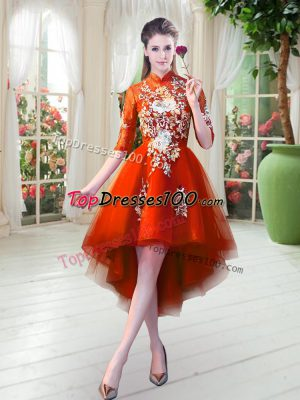 Custom Made Tulle High-neck Half Sleeves Zipper Appliques Dress for Prom in Orange Red