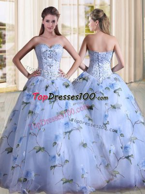 Customized Lavender Sweetheart Lace Up Beading Vestidos de Quinceanera Sleeveless