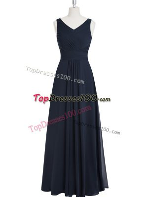 Fancy Black Zipper Prom Party Dress Ruching Sleeveless Floor Length
