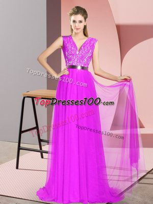 Purple V-neck Neckline Beading and Lace Prom Gown Sleeveless Zipper