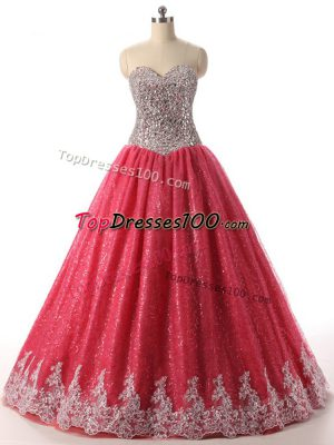 Coral Red Lace Up Sweetheart Beading and Appliques 15 Quinceanera Dress Sequined Sleeveless