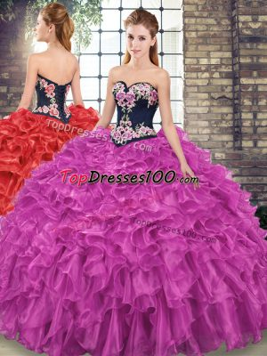 High Class Sleeveless Organza Sweep Train Lace Up Quinceanera Dress in Fuchsia with Embroidery and Ruffles