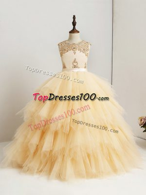 Pretty Gold Scoop Zipper Beading and Ruffles Child Pageant Dress Sleeveless