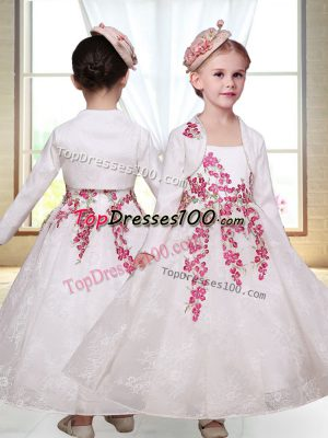 Sleeveless Lace Ankle Length Zipper Toddler Flower Girl Dress in White with Embroidery