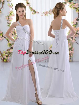 Sleeveless Chiffon Brush Train Lace Up Wedding Guest Dresses in White with Beading