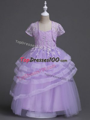 Free and Easy Lavender Ball Gowns Appliques and Ruffled Layers Flower Girl Dresses Zipper Tulle Sleeveless Floor Length