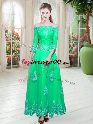 Designer Turquoise A-line Lace Prom Evening Gown Lace Up Tulle 3 4 Length Sleeve Floor Length