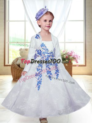 White A-line Embroidery Flower Girl Dresses Zipper Lace Sleeveless Ankle Length