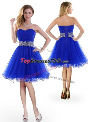 Ideal Sleeveless Knee Length Beading Lace Up Homecoming Dress with Royal Blue