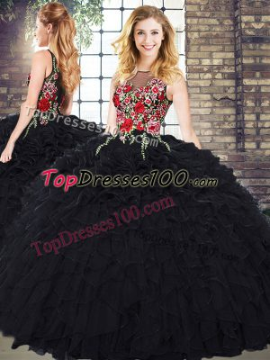 Hot Selling Organza Scoop Sleeveless Zipper Embroidery and Ruffles Quinceanera Gowns in Black