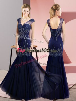 Floor Length Mermaid Sleeveless Navy Blue Dress for Prom Lace Up