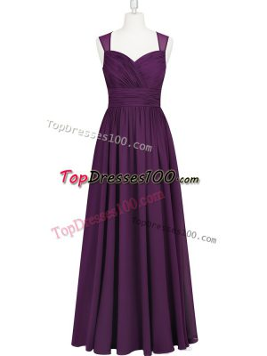 Hot Selling Chiffon Straps Sleeveless Zipper Ruching Prom Evening Gown in Eggplant Purple