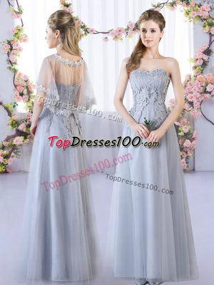 Smart Floor Length Lace Up Bridesmaid Gown Grey for Prom and Party and Wedding Party with Lace