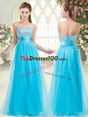 Aqua Blue Lace Up Sweetheart Beading Dress for Prom Tulle Sleeveless