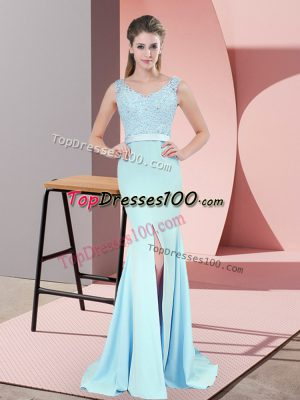 Charming Beading and Lace Prom Party Dress Blue Zipper Sleeveless Sweep Train