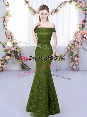 Classical Mermaid Vestidos de Damas Olive Green Off The Shoulder Sleeveless Floor Length Lace Up