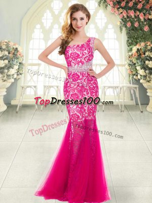 Hot Pink Sleeveless Tulle Zipper Evening Dress for Prom and Party