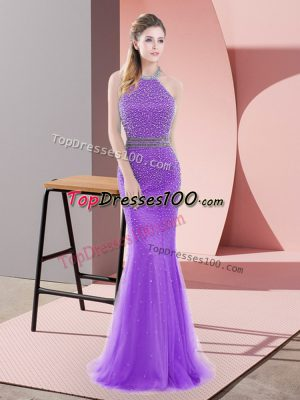 Mermaid Sleeveless Purple Prom Gown Sweep Train Backless