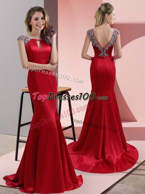 Amazing Cap Sleeves Beading Backless Dress for Prom with Red Sweep Train
