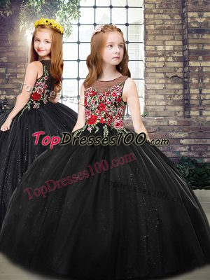 Perfect Black Ball Gowns Embroidery Kids Pageant Dress Zipper Tulle Sleeveless Floor Length