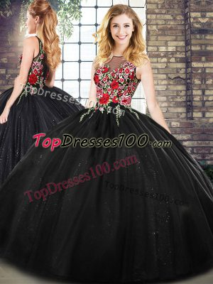 Fashionable Sleeveless Floor Length Embroidery Zipper Quinceanera Dresses with Black