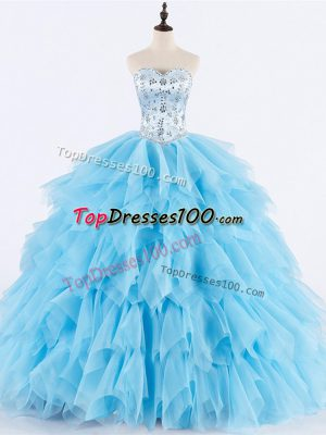 Modest Sweetheart Sleeveless Lace Up Sweet 16 Dresses Baby Blue Tulle