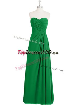 Cheap Green Chiffon Zipper Evening Dress Sleeveless Floor Length Ruching