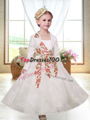 White A-line Lace Straps Sleeveless Embroidery Ankle Length Zipper Flower Girl Dresses for Less