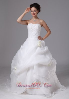 Organza Hand Made Flowers and Pick-ups Wedding Dress With Brush Train For Custom Made In Gainesville Georgia - Top Selling