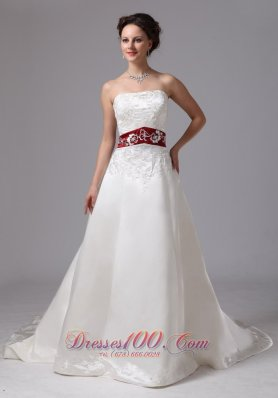 2013 Embroidery Clasp Handle Wedding Dress With Chapel Train Wine Red and White - Top Selling