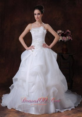 Spaghetti Strap A-Line Organza Beading Wedding Dress 2013 Court Train - Top Selling