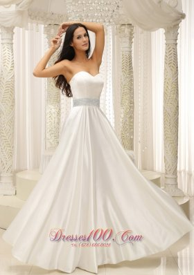Elastic Woven Satin Sweetherat Wedding Dress Beaded Decorate Waist Floor-length - Top Selling