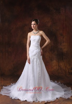Court Train White Wedding Dress Embroidery Over Bodice Strapless - Top Selling