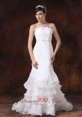 Customize Mermaid Wedding Dress With Strapless Ruffled Layers Decorate - Top Selling