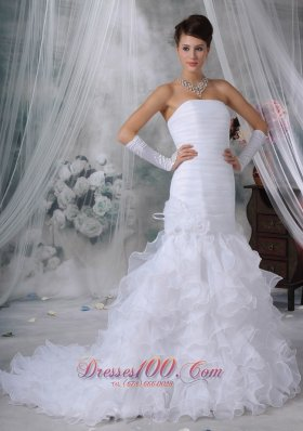 Beautiful Mermaid Strapless Court Train Organza Handle Flowers Wedding Dress - Top Selling