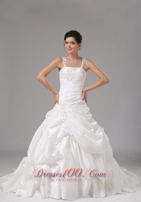 Straps A-line Wedding Dress With Embroidery Decorate For Wedding Party - Top Selling