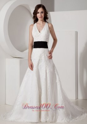 Customize A-line Halter Court Train Satin and Lace Appliques Wedding Dress - Top Selling