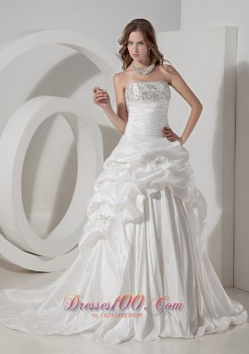 Luxurious A-line Strapless Chapel Train Taffeta Beading and Pick-ups Wedding Dress   - Top Selling