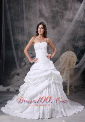 Custom Made White A-line Strapless Wedding Dress Taffeta Appliques and Hand Made Flowers Court Train - Top Selling