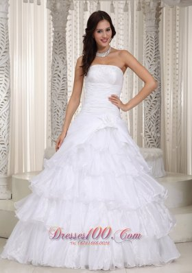 New A-line Strapless Flooor-length Organza Beading and Hand Made Flower Wedding Dress - Top Selling