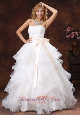 Custom Made Ball Gown Sash 2013 Wedding Dress Strapless With Sash Organza  - Top Selling