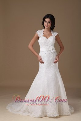 Beautiful Mermaid Sweetheart Brush Train Lace Beading Wedding Dress - Top Selling